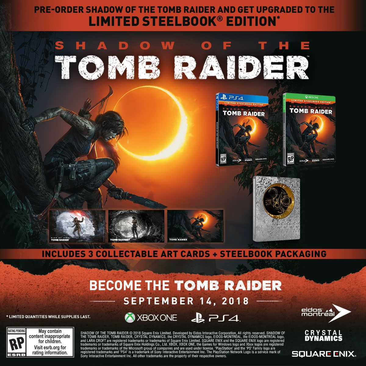 Shadow of the Tomb Raider Steelbook Editions